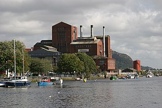 The skyline of Dumbarton used to be dominated by the red-brick former Ballantine's grain distillery. River Leven at Dumbarton - geograph.org.uk - 366291.jpg