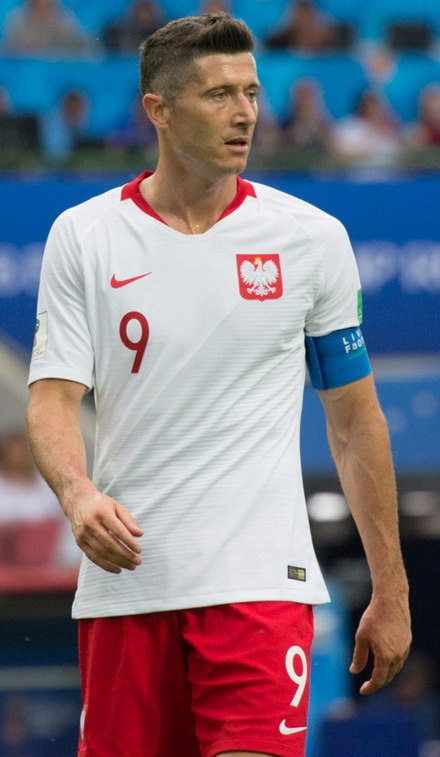 Robert Lewandowski, who finished the 2018 FIFA World Cup qualifying campaign with 16 goals; breaking the European qualifying record for goals scored, as well as becoming all-time top goalscorer for Poland. Robert Lewandowski 2018.jpg