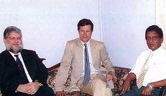 Robert O. Blake Jr. - Blake is seen with E. Saravanapavan at Uthayan Office in Jaffna.