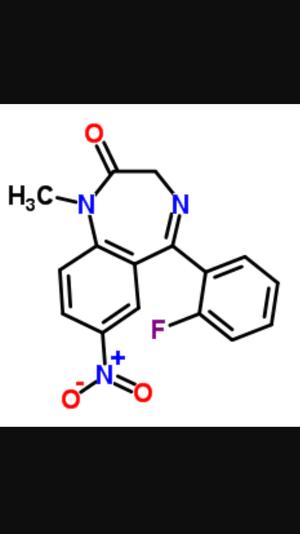 Date rape drug - Rohypnol (flunitrazepam) molecule