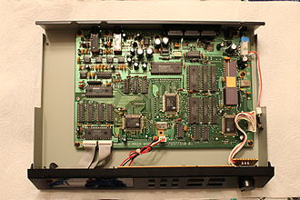Roland MT-32 - Top view of MT-32 with cover removed (Old, Rev. 1 PCB)