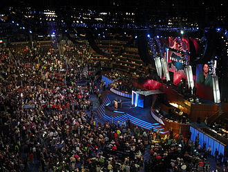 United States presidential nominating convention - Roll call of states during the 2008 Democratic National Convention at the Pepsi Center in Denver, Colorado.