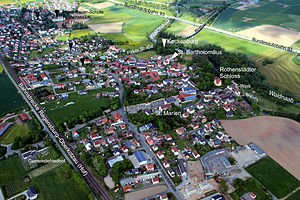 Aerial view of Rothenstadt with the Keckenburg