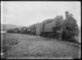 Row of locomotives outside the Hutt Railway Workshops, Woburn ATLIB 290276.png