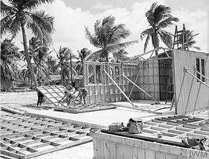 Operation Grapple - Royal Engineers assemble huts on Christmas Island