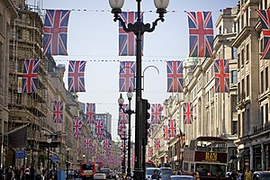 Wedding of Prince William and Catherine Middleton - Days before the wedding, dozens of Union Flags were hung in Regent Street