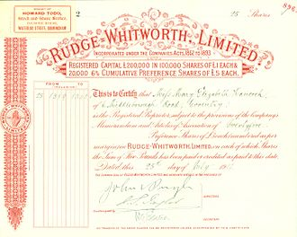 Rudge-Whitworth - Preferred Share of the Rudge-Withworth Ltd, issued 25. July 1911