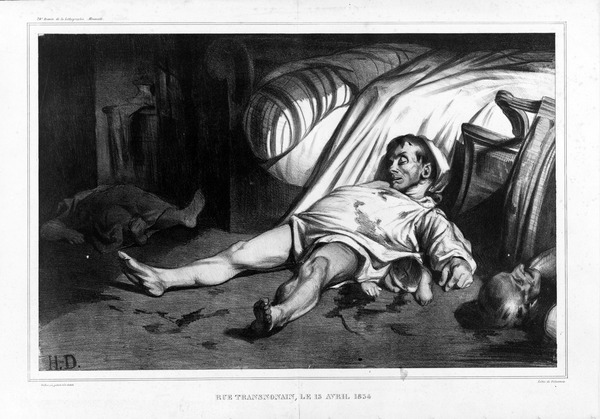 The massacre of the rue Transnonain , Paris, on 14 April 1834, depicted by the caricaturist Honore Daumier Rue Transnonain, le 15 Avril 1834.tif