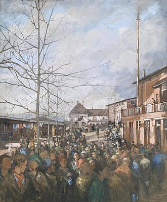 Ruhleben internment camp - Detainees queuing for Christmas dinner: painting by Nico Jungman