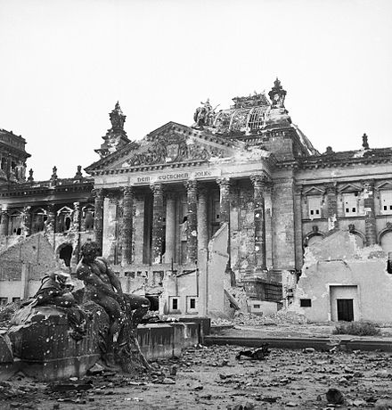 The Reichstag after its capture in 1945. Ruins of the Reichstag in Berlin, 3 June 1945. BU8573.jpg