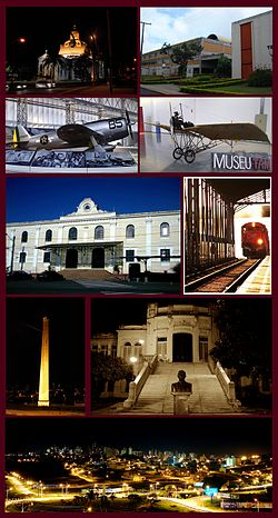 Views of São Carlos, Top left:Night view of São Carlos Cathedral, Top right:Federal University of São Carlos, 2nd:Planes display in Wings of a Dream Museum, P-47D Thunderbolt(left), Santos Dumont Demoiselle(right), Middle:São Carlos Railroad Station, Entrance Building(left), track and platform(right), 4th left:Chamine Garden, 4th right:Alvaro Guiao School, Bottom:Night view of Downtown São Carlos from Iguatemi Shopping Mall