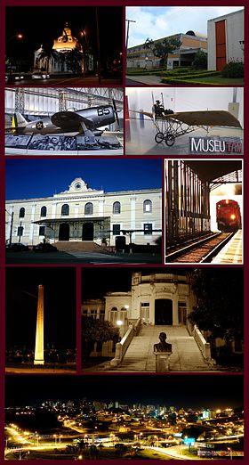São Carlos (a partir de cima, esquerda): Catedral de São Carlos, UFSCar, P-47D Thunderbolt e Demoiselle 22 (do Museu TAM), Estação Ferroviária de São Carlos, Parque da Chaminé, Escola Álvaro Guião e um panorama da cidade.