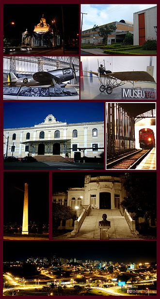 São Carlos - Views of São Carlos, Top left:Night view of São Carlos Cathedral, Top right:Federal University of São Carlos, 2nd:Planes display in Wings of a Dream Museum, P-47D Thunderbolt(left), Santos Dumont Demoiselle(right), Middle:São Carlos Railroad Station, Entrance Building(left), track and platform(right), 4th left:Chamine Garden, 4th right:Alvaro Guiao School, Bottom:Night view of Downtown São Carlos from Iguatemi Shopping Mall