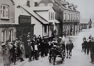 Hadsten - The flooding in 1910 (Søndergade)