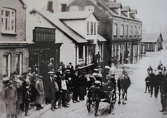 Hadsten - The flooding in 1910 (Søndergade)
