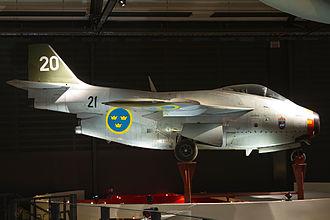 Saab 29 Tunnan - SAAB S 29C 'Tunnan' on display at Swedish Air Force Museum, Linköping