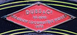 South African Class 6 4-6-0 - Dübs works plate