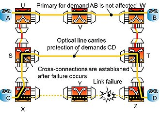 Optical mesh network - Shared backup path protection - after failure and recovery
