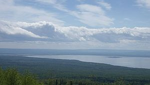 Lesser Slave Lake - Southeast corner of the lake from Martin Mountain looking south with Dog Island, Devonshire Beach, and the Town of Slave Lake visible in the distance