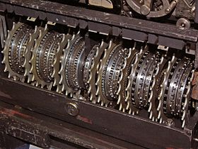 The Lorenz machine was used by the Germans to encrypt high-level teleprinter communications. It contained 12 wheels with a total of 501 pins.