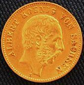 20 Goldmark, Ausgabe 1894, zeigt Albert von Sachsens Bildnis in Profilansicht (Quelle: Wikimedia)