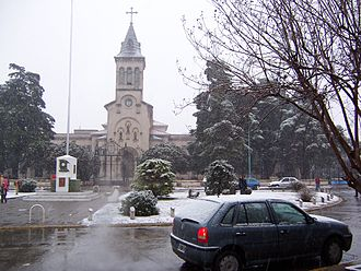 San Antonio de Padua - The Church of San Antonio de Padua during the July 9, 2007 snowstorm, the first in the Buenos Aires area since 1918.
