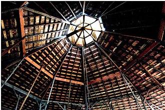 San Luis Obispo Octagon Barn - View of cupola from inside barn