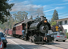 Santa Cruz Portland Cement 0 4 2 Steam Engine Rolling Into California On Former Sp Trackage Chestnut Street