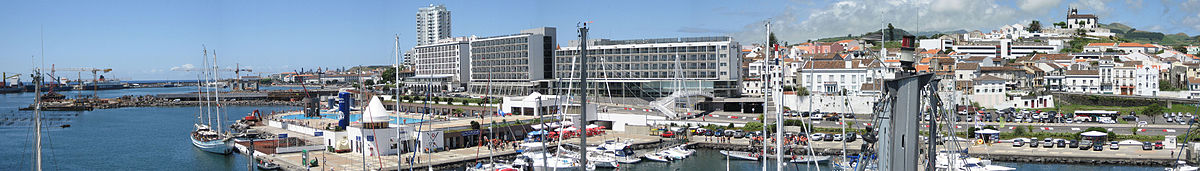 Panorama of the Marina Pêro de Teive, a yachting centre and tourist area near the port of Ponta Delgada (the Marine Atlantic Hotel in the background)