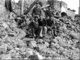 Palmach - Palmach sappers in the ruins of a village, 1948