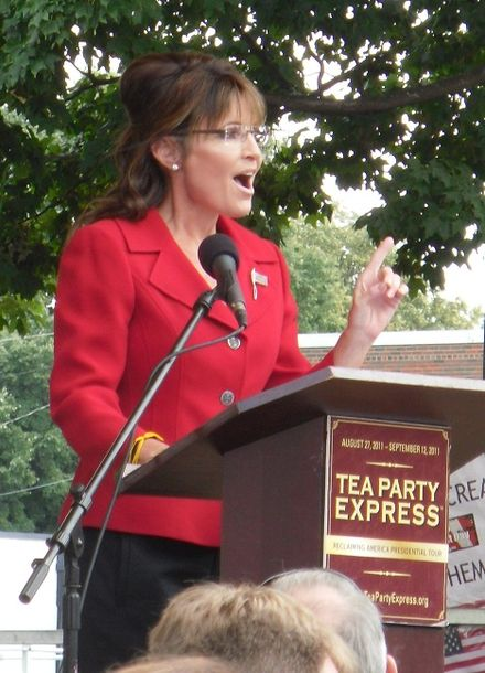 Palin addressing a Labor Day rally sponsored by the Tea Party Express (Manchester, NH), 2011 Sarah Palin Manchester NH 9-6-2011.jpg