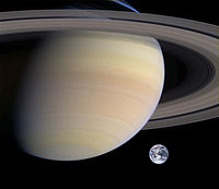 Composite image roughly comparing the sizes of Saturn and Earth