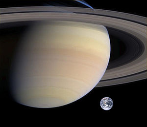 Rough comparison of sizes of Saturn and Earth....