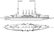The ship had four smoke stacks between a pair of tall pole masts. A twin gun turret was positioned on either end of the superstructure, which bristled with guns