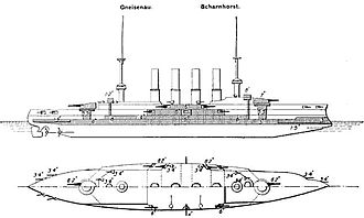 SMS Scharnhorst - Line drawing of the Scharnhorst class