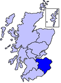 Location map of Lothian and Borders.