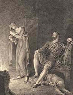 Glenfinlas (poem) - The spirit dries herself at the fire as the appalled Moy looks on.  Richard Westall, engraved by Richard Golding.