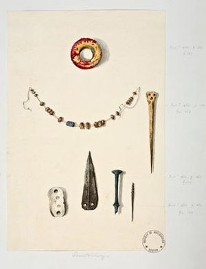 Scratchbury Camp - Drawing of finds from the Scratchbury Grave Group, 1869; William Pilsbury after Richard Colt-Hoare (1758–1838); Watercolour on paper, 26.7 x 17.8 (cm); located at the Society of Antiquaries of London