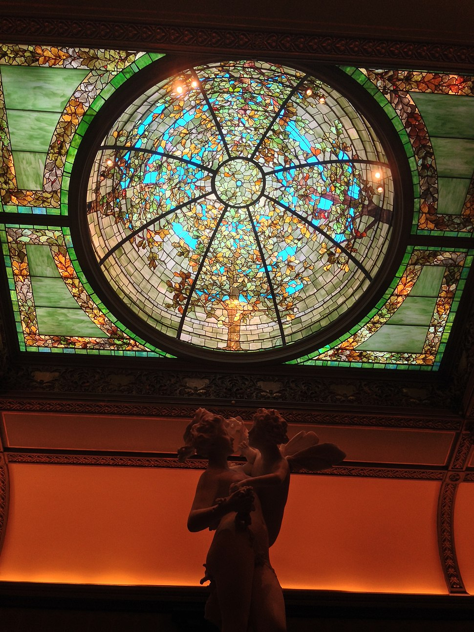 Sculpture and stained glass at Richard H Driehaus museum