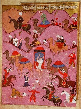 Murder of Ma'sum Beg, the envoy of the Safavid Shah Tahmasp, by Bedouins in the Hejaz, 16th century Sehname-i Selim Han 68a.jpg