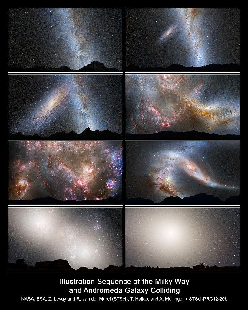 Kollision zwischen Andromedagalaxie 6 Milchstraße