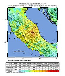 Shakemap Earthquake , Italy. The epicenter (red) shown in the middle of the map is located near Norcia, only a few kilometers north of Amatrice.