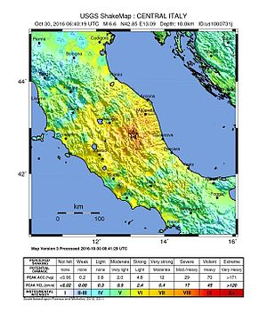 October 2016 Central Italy earthquakes - Shakemap for the October 30 quake