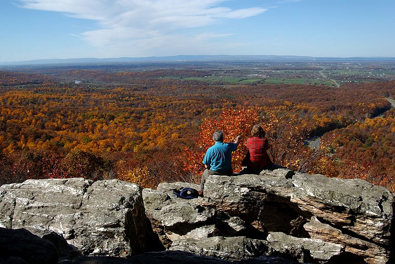 View of Shenandoah Valley from overlook in Blue Ridge Mountains