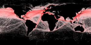 Freight transport - This map of shipping routes illustrates the relative density of commercial shipping in the world's oceans.