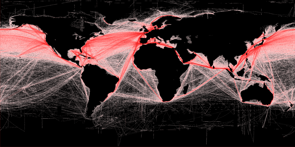 Shipping routes red black