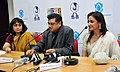 Shri Amit Kumar, son of the Legendary film personality late Kishore Kumar and Ms. Anooradha Patel (Grand daughter of Dadasaheb Phalke Awardee late Ashok Kumar) briefing the media on the late Ashok Kumar's contribution to the.jpg