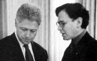 Sidney Blumenthal - Blumenthal (right) briefs President Bill Clinton in the Oval Office in 1998.