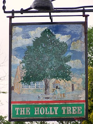 English: Sign for the Holly Tree The sign on t...