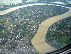 Aerial view of the Barak river, Silchar